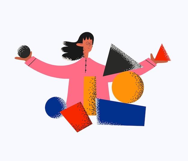 Etnische vrouw verzamelt stukjes geometrische vormen