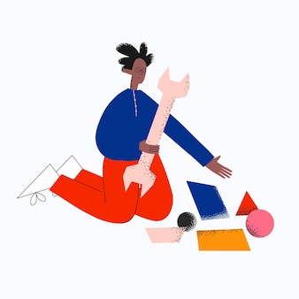 Etnische zakenman met platte sleutel en abstracte geometrische vormen