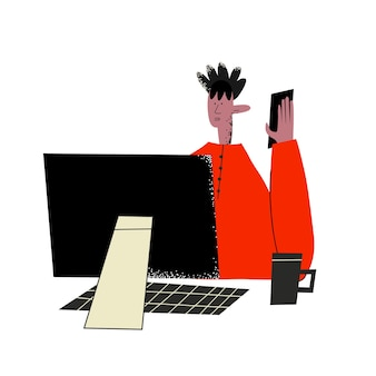 Etnische zakenman spreekt aan de telefoon op de computer