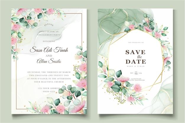 Eucalyptus bloem bruiloft uitnodigingskaarten set