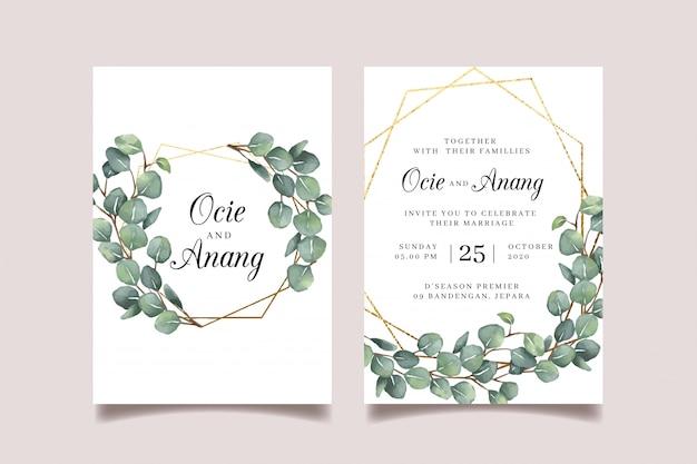 Eucalyptus bruiloft uitnodiging met gouden geometrische folie