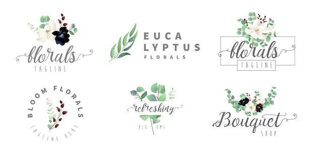 Eucalyptus- en bloemenlogo's