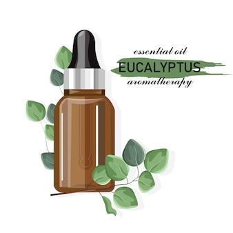 Eucalyptus etherische olie fles met druppelaar