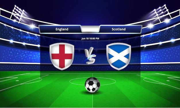 Euro cup engeland vs schotland voetbalwedstrijd scorebord uitzending