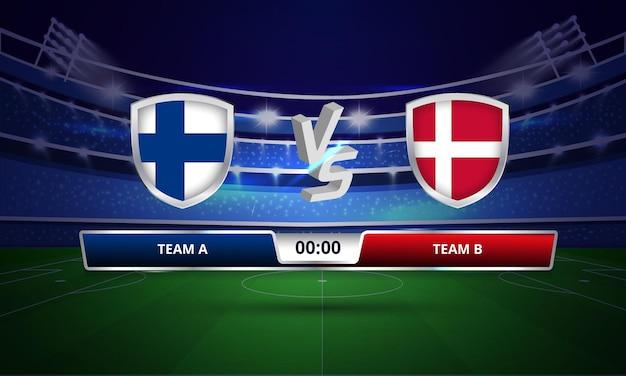 Euro cup finland vs denemarken voetbal volledig wedstrijdscorebord