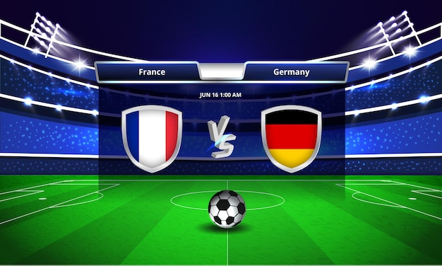 Euro cup frankrijk vs duitsland voetbalwedstrijd scorebord uitzending