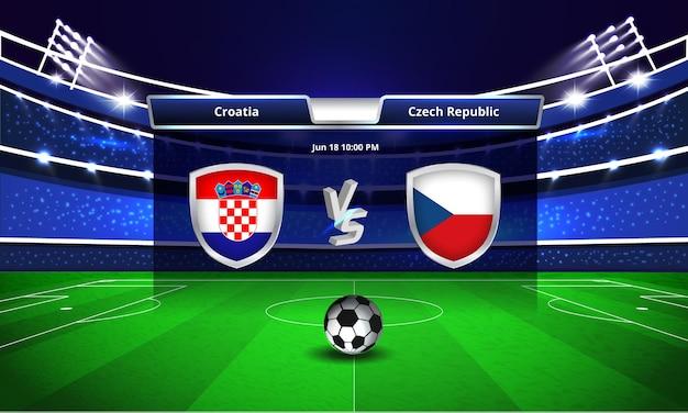 Euro cup kroatië vs tsjechië voetbalwedstrijd scorebord uitzending
