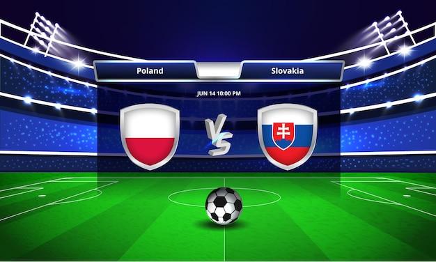 Euro cup polen vs slowakije voetbalwedstrijd scorebord uitzending