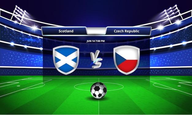 Euro cup schotland vs tsjechië voetbalwedstrijd scorebord uitzending