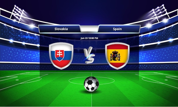 Euro cup slowakije vs spanje voetbalwedstrijd scorebord uitzending
