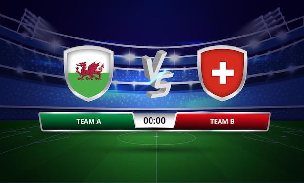 Euro cup wales vs zwitserland voetbalwedstrijd volledig scorebord