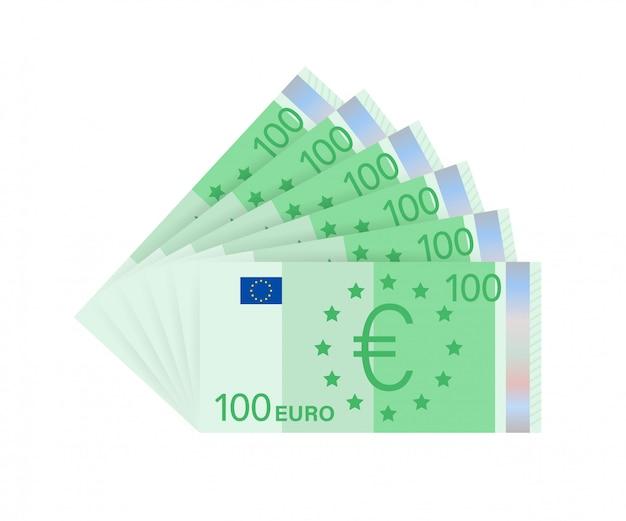 Euro geld bankbiljetten. vaste euro voor papiergeld. bedrijfsconcept. stock illustratie.