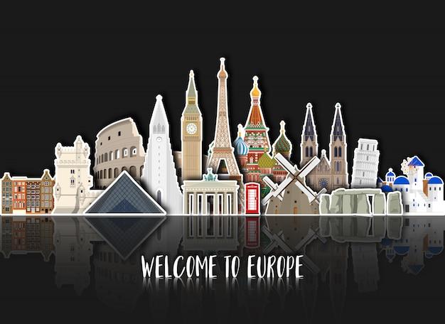 Europa beroemde landmark papier kunst