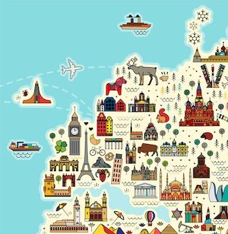 Europa-kaart met beroemde reisgids voor bezienswaardigheden