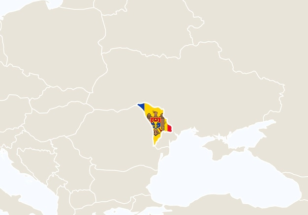 Europa met gemarkeerde moldavië kaart. vectorillustratie.