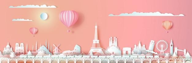 Europa-oriëntatiepunten van de wereld reizen met trein en ballon.