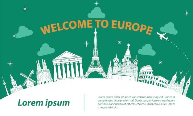 Europa top beroemde bezienswaardigheid silhouet