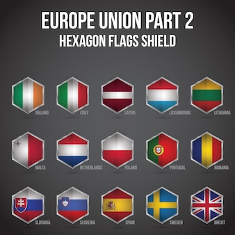 Europe union hexagon flags shield