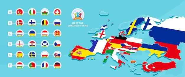 Europees voetbalkampioenschap 2020 Premium Vector