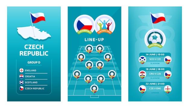 Europese 2020 verticale voetbalbannerset voor sociale media