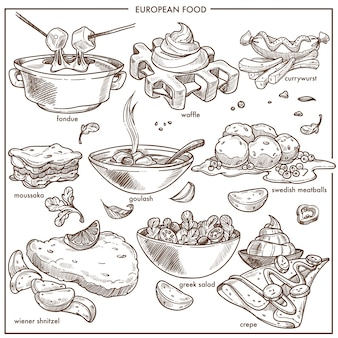 Europese keuken gerechten voor menu schets iconen sjablonen