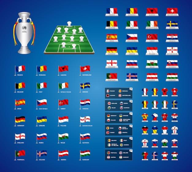 Europese landen en vlaggen van het land