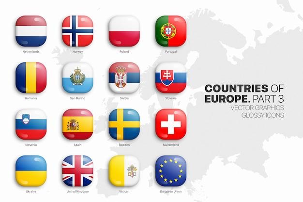 Europese landen vlaggen 3d glanzende pictogrammen instellen