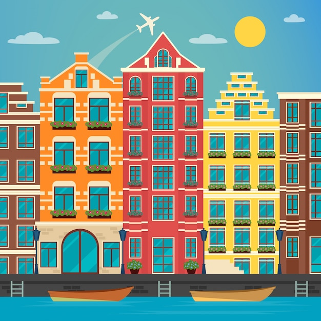 Europese stad. stedelijke scène. europese architectuur. vintage huis. rivier met boten. vector illustratie. vlakke stijl