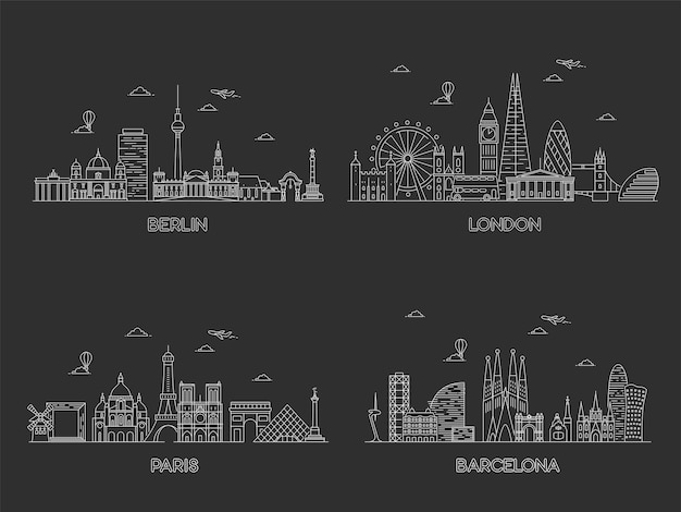Europese steden skylines. lijn kunst illustratie