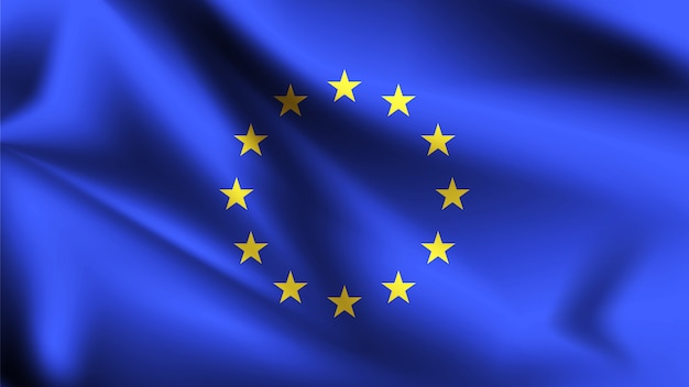 Europese unie vlag waait in de wind. onderdeel van een serie. wapperende vlag van de europese unie.