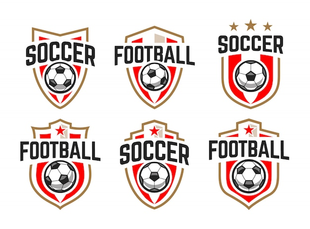 Europese voetbal klassieke emblemen vector set.