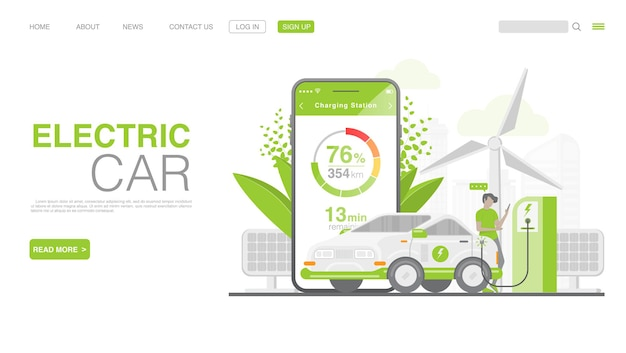 Ev-auto of elektrische auto op de bestemmingspagina van het laadstation