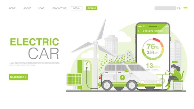 Ev-auto of elektrische auto op de bestemmingspagina van het laadstation Premium Vector