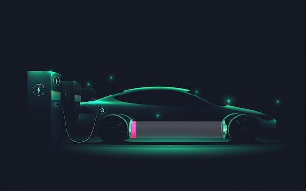 Ev elektrisch autosilhouet met lage batterijlading bij elektrisch laadstation. .