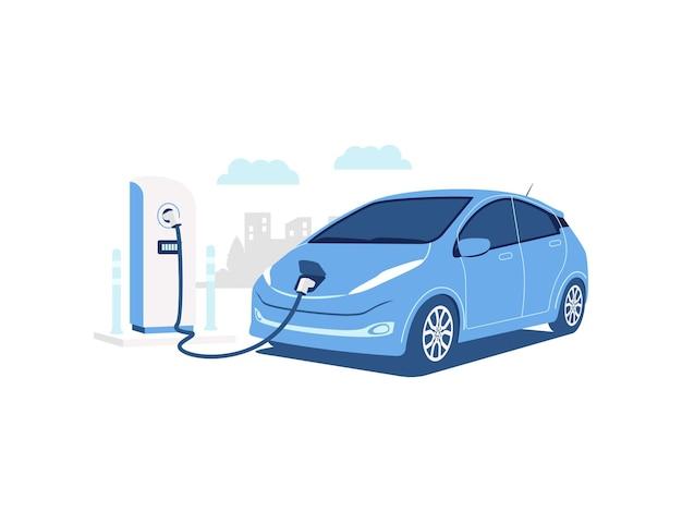 Ev elektrisch voertuig of elektrische auto bij laadstation concept illustratie