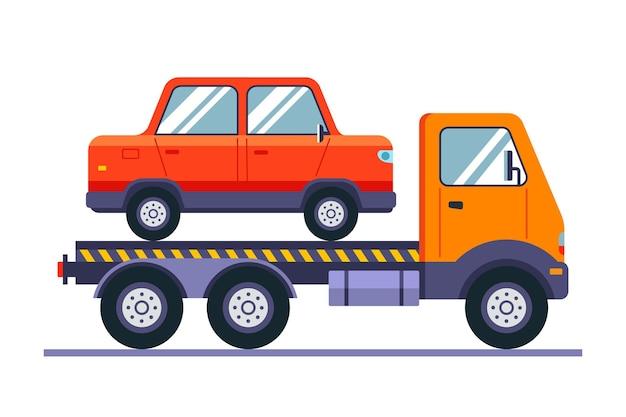 Evacuatie van een kapotte auto op speciale apparatuur vlakke afbeelding