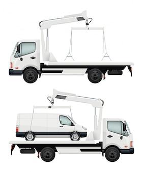 Evacuator auto. realistische auto's, evacuatorenillustratie