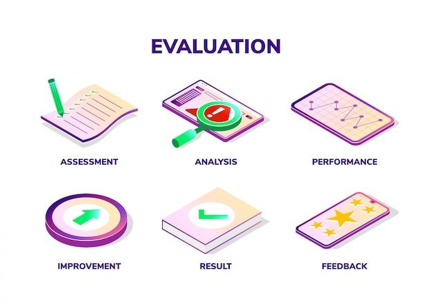Evaluatie concept. isometrische pictogrammen.