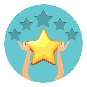 Evaluatie in glanzende gouden sterren voor aangeboden diensten. rang in universele vorm. menselijke armen geven schatting geïsoleerde cartoon in cirkel.
