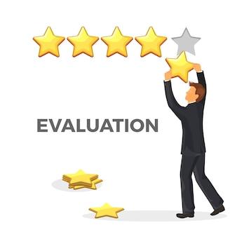Evaluatie promo poster met gouden ster en man in pak. mannelijk karakter geeft waardering. rang voor elke dienst in universele vorm geïsoleerd.