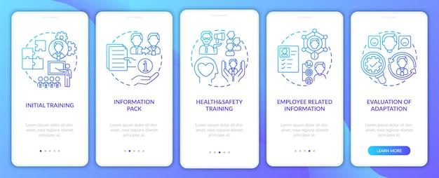 Evaluatie van het onboarding-scherm van de mobiele app-pagina met concepten