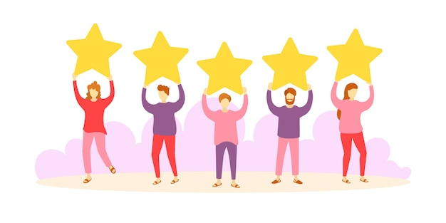 Evaluatie van klantrecensies. klanten die een product, dienst evalueren. verschillende mensen geven feedbackbeoordelingen en recensies. personages houden sterren boven hun hoofd. vijf sterren. vector.