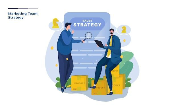 Evaluatieteam en marketingstrategie illustratie