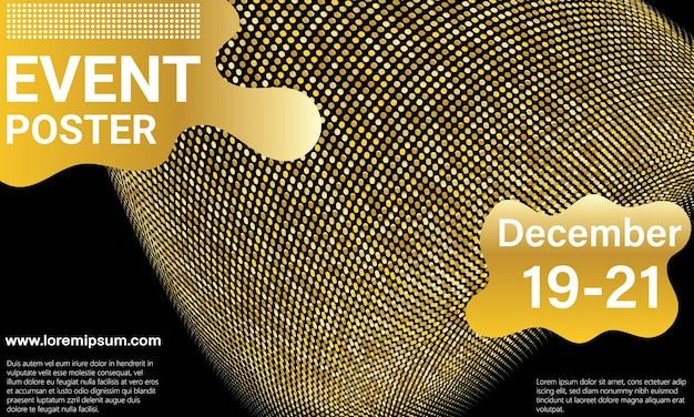 Evenement affiche. gouden muziek golven. abstract omslagontwerp. neon gouden elementen. vector illustratie.