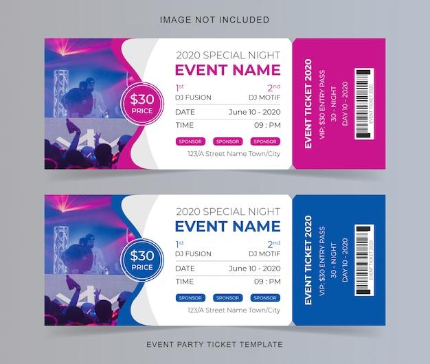 Evenement feest ticket sjabloon