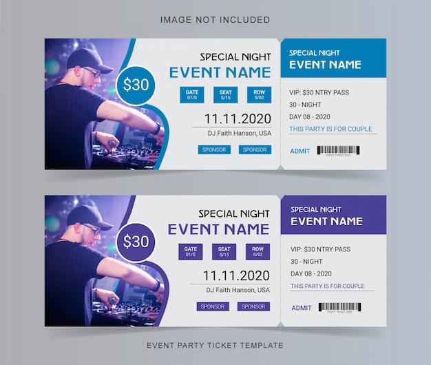 Evenement feest ticket