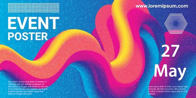 Evenement poster. partij achtergrond. vloeistofstroom. futuristische compositie. vloeibare vormen. abstracte dekking. illustratie.