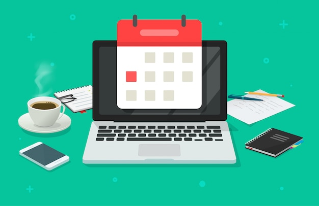 Evenementplanning op kalenderdatum op laptopcomputer in vlakke het beeldverhaalillustratie van de bureau werkende lijst