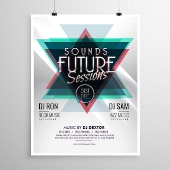 Event flyer poster sjabloon met abstracte driehoek vormen