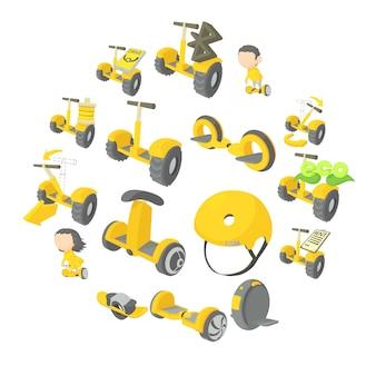 Evenwichtige scooter iconen set, cartoon stijl